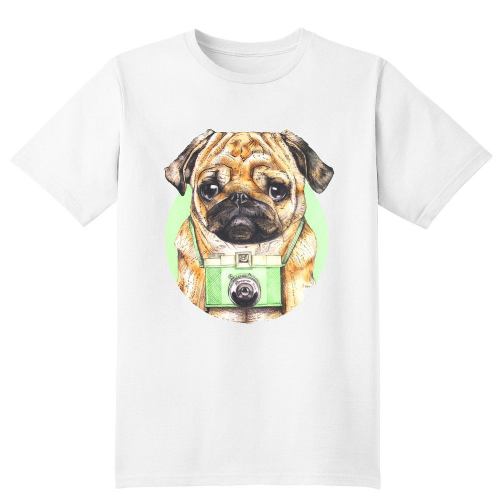 Adorable Hipster Pug Photographer Illustrated Graphic Print T-Shirt