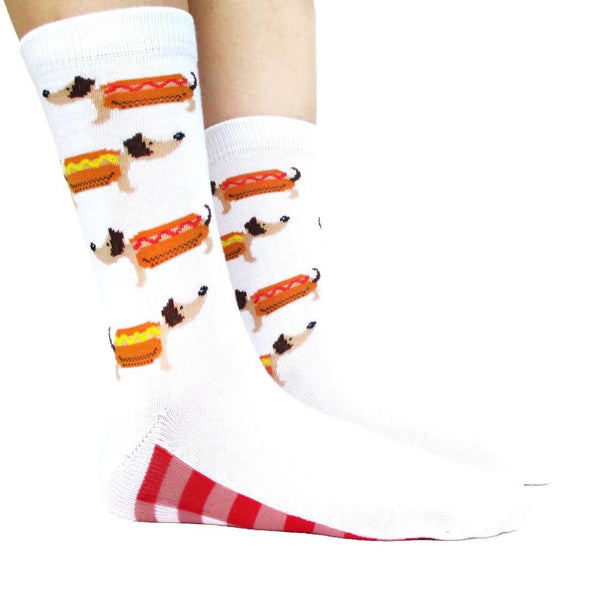 Adorable Hot Dog Dachshund Novelty Print Calf High Socks for Women in White | DOTOLY