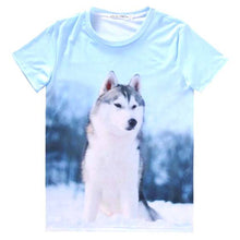 Adorable Husky Puppy Dog Graphic Print T-Shirt in Blue