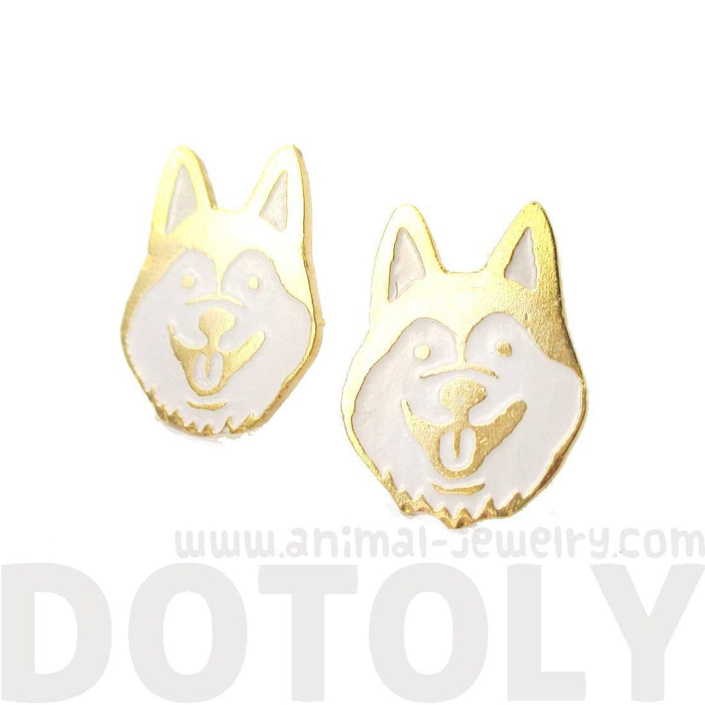 Adorable Husky Puppy Face Shaped Limited Edition Animal Stud Earrings