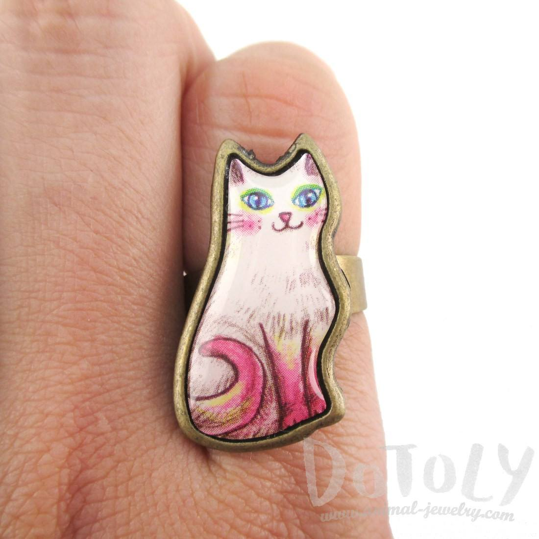 Adorable Illustrated Kitty Cat Adjustable Ring in White with Pink Tail