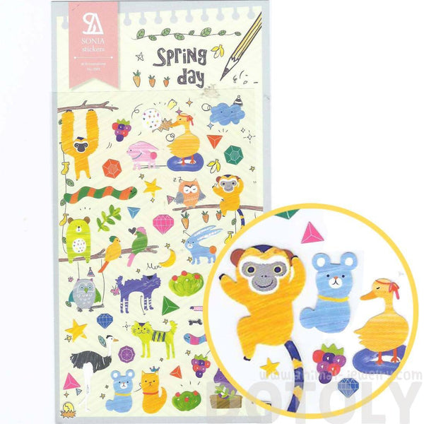 Adorable Illustrated Monkey Chimpanzee Ostrich Weird Animal Shaped Stickers for Scrapbooking | DOTOLY