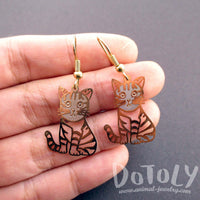 Adorable Striped Kitty Cat Cut Out Shaped Dangle Earrings in Gold