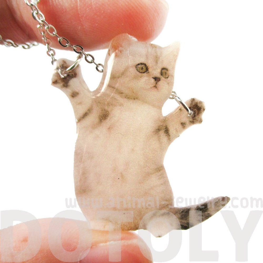 Adorable Kitten Hug Baby Kitty Cat on Hind Legs Pendant Necklace in White