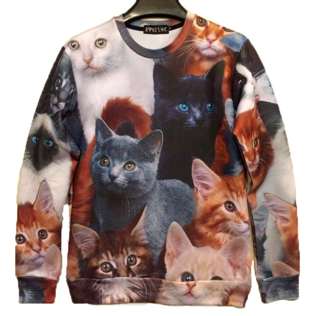 Cute Kitty Cat All Over Collage Print Sweater | Gifts for Cat Lovers