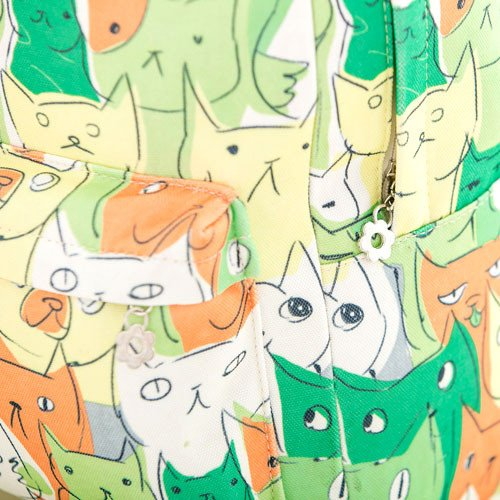 Adorable Kitty Cat All Over Print Gym Rucksack Backpack in Green or Grey | DOTOLY