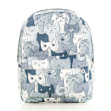 Cute Kitty Cat All Over Print Backpack in Green or Grey
