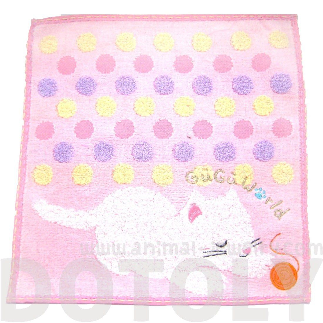 Adorable Kitty Cat Ball of Yarn Polka Dotted Handkerchief Face Towel