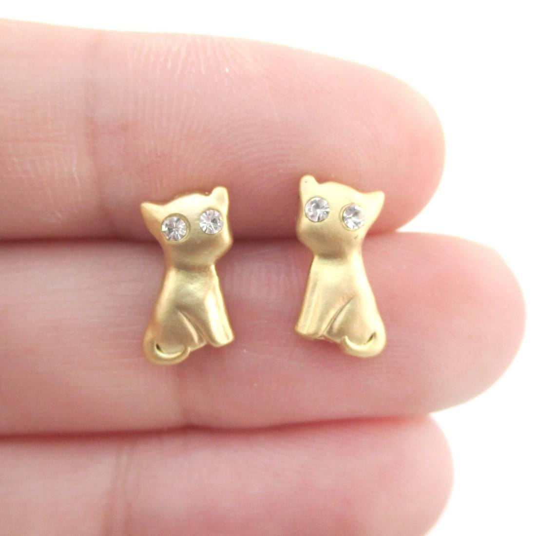 Kitty Cat Shaped Stud Earrings in Gold with Rhinestones