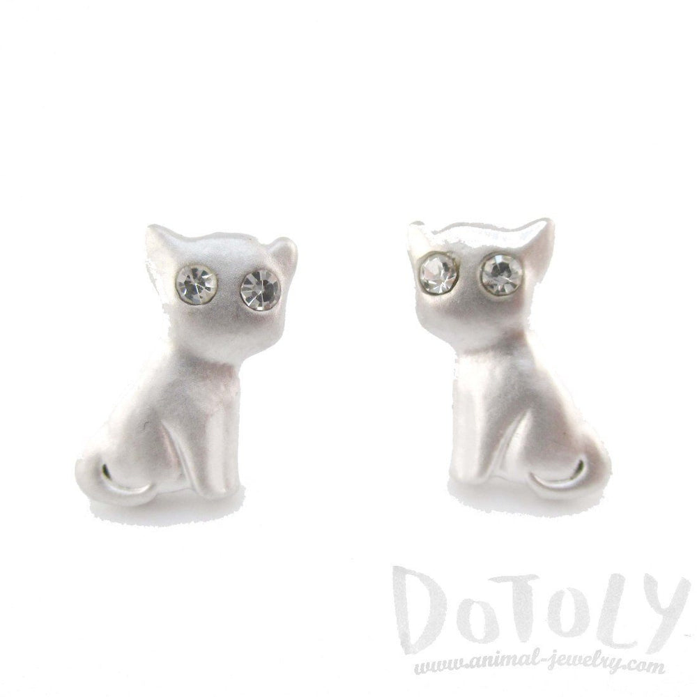 Cat Shaped Stud Earrings in Silver with Rhinestones