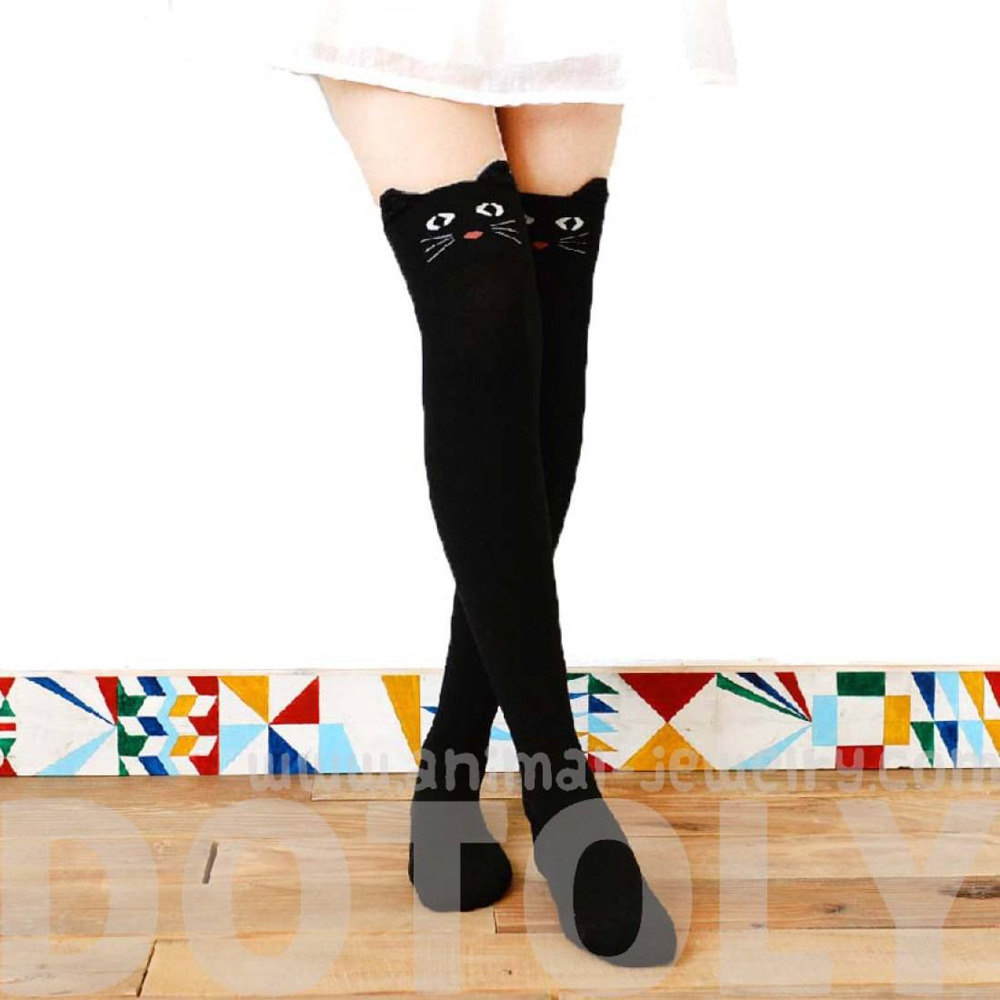Black Kitty Cat Animal Themed Over the Knee Thigh High Cotton Socks