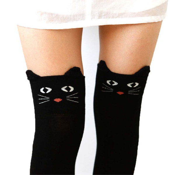 Adorable Kitty Cat Face Animal Themed Over the Knee Thigh High Cotton Socks in Black or Navy | DOTOLY