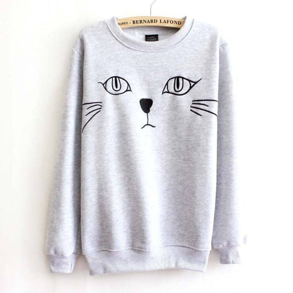 Adorable Kitty Cat Face Long Sleeve Pullover Sweater in White or Grey