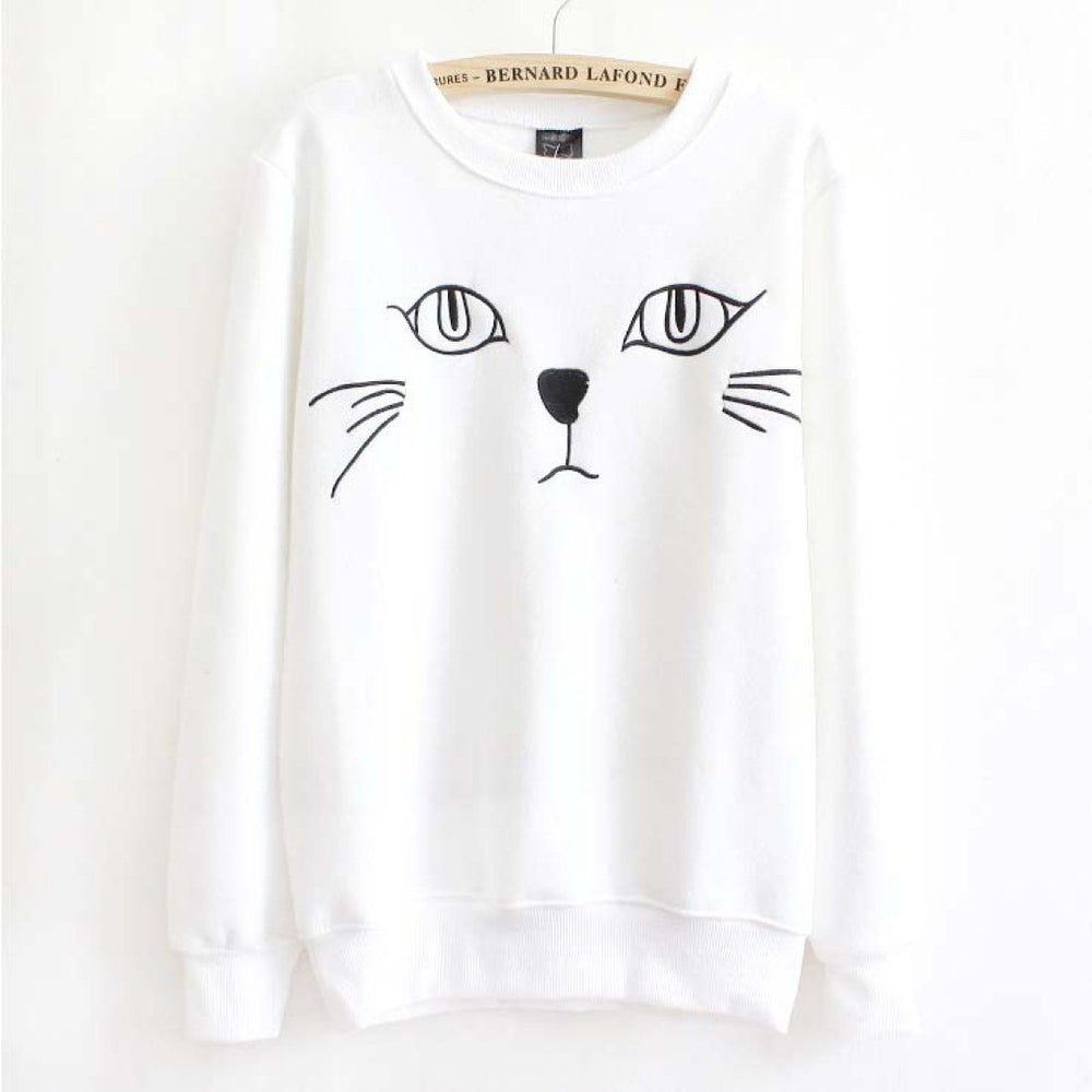 Adorable Kitty Cat Face Long Sleeve Pullover Sweatshirt Sweater for Women in White or Grey | DOTOLY