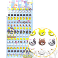 Adorable Kitty Face Shaped Animal Puffy Sticker Seals for Cat Lovers