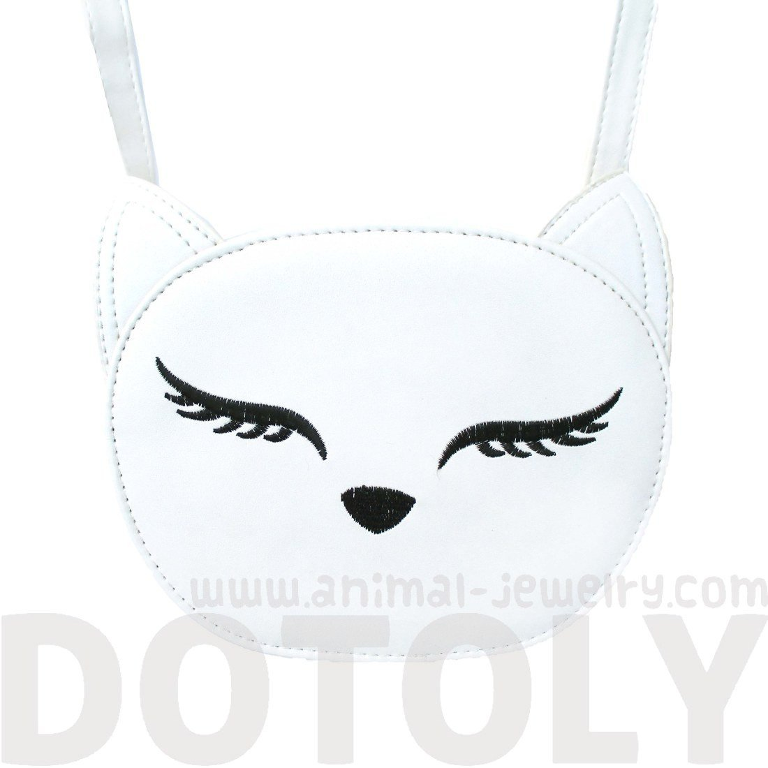 Kitty Cat Face Shaped Cross body Bag for Women in White