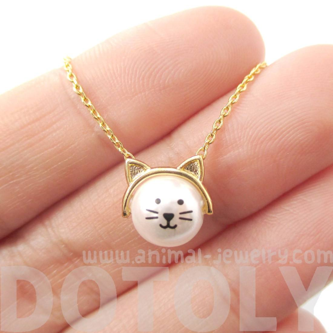 Adorable Kitty Cat Face Shaped Pendant Necklace in Gold