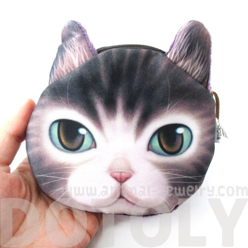 Adorable Kitty Cat Face Shaped Coin Purse Make Up Bag with Green Eyes