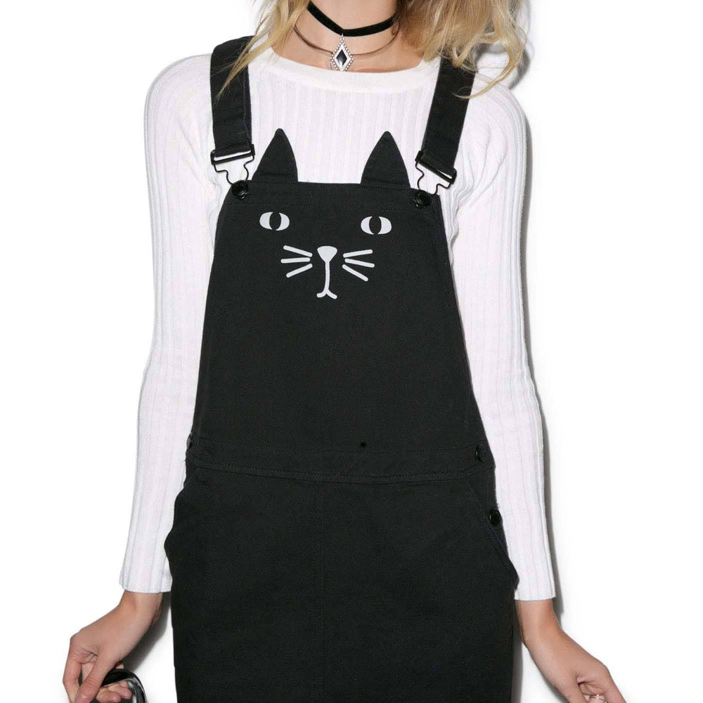 Adorable Kitty Cat Face Overall Pinafore Dress in Black