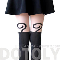 Adorable Kitty Cat Holding An Apple Mock Thigh High Pantyhose Tights