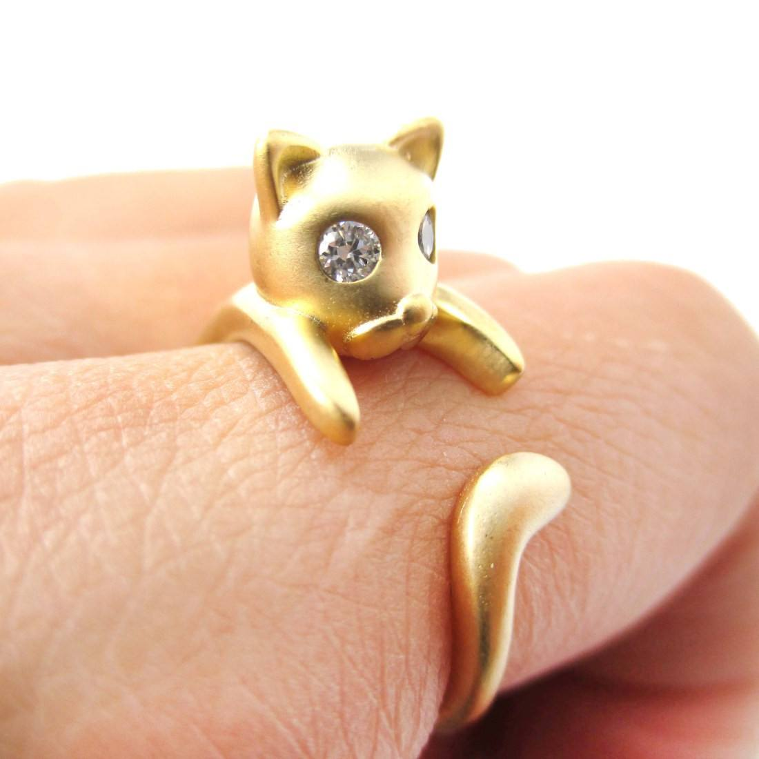 Adorable Kitty Cat Kitten Sleek Animal Wrap Around Ring in Gold