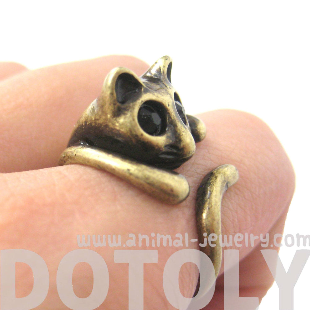 Adorable Kitty Cat Shaped Animal Wrap Ring in Brass | US Sizes 7 to 9 | DOTOLY