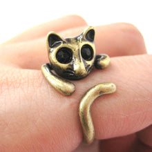 Adorable Kitty Cat Shaped Animal Wrap Ring in Brass | US Sizes 7 to 9