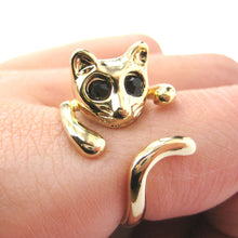 Adorable Kitty Cat Shaped Animal Wrap Ring in Gold | US Sizes 7 to 9