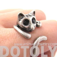 Adorable Kitty Cat Shaped Animal Wrap Ring in Silver | US Sizes 7 to 9