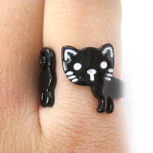 Adorable Kitty Cat Shaped Cartoon Animal Wrap Around Ring in Black