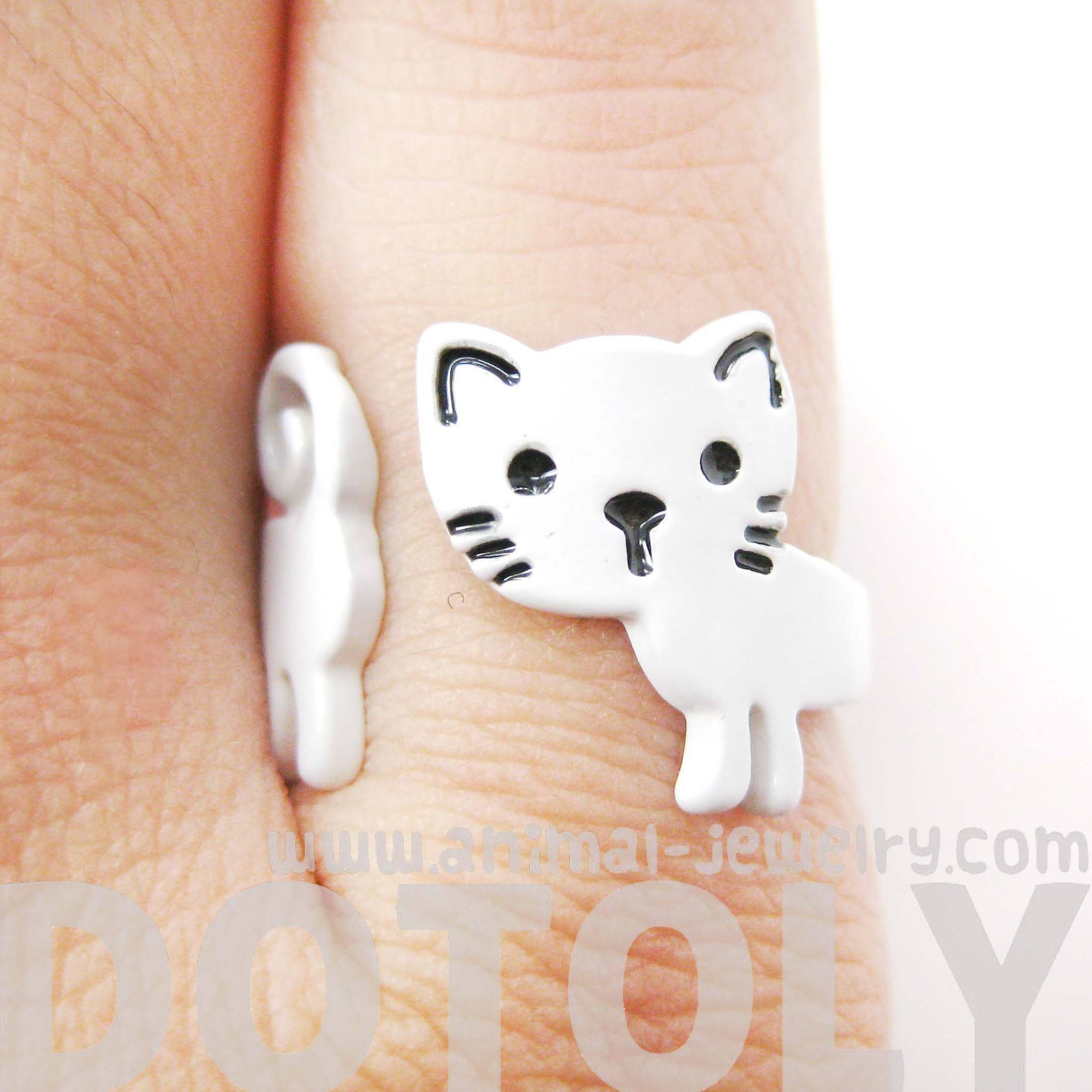 Adorable Kitty Cat Shaped Cartoon Animal Wrap Around Ring in White