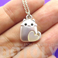 Kitty Cat With Heart Shaped Pearl Necklace in Silver