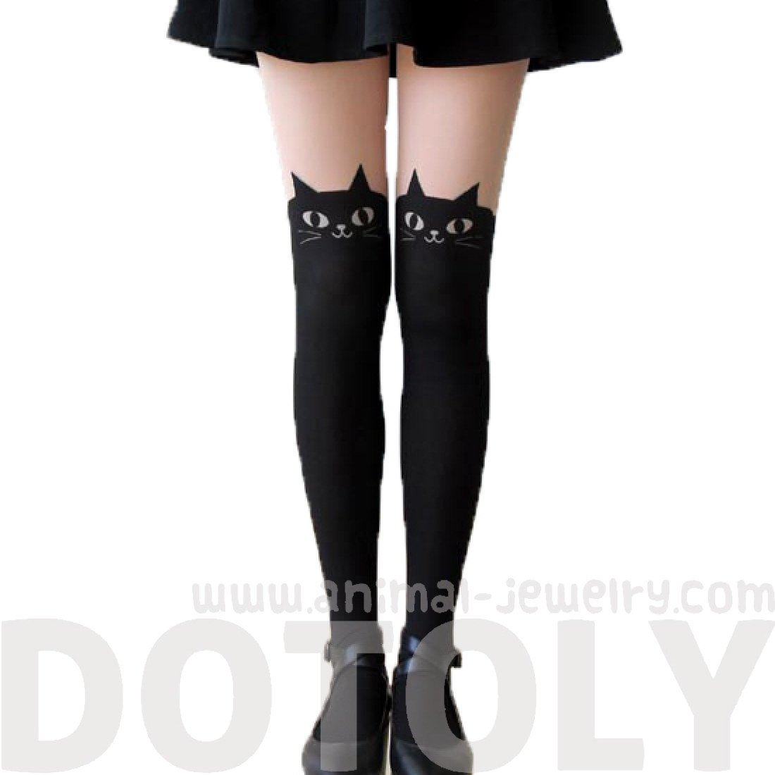 Cute Kitty Cat with Bow Tie Mock Thigh High Pantyhose Tights in Black
