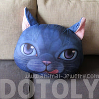 Kitty Cat With Tongue Sticking Out Face Shaped Cushion