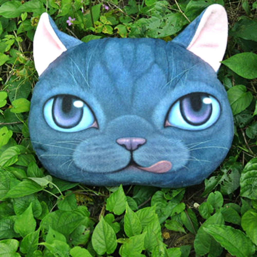 Adorable Kitty Cat With Tongue Sticking Out Face Shaped Cushion Pillow | DOTOLY