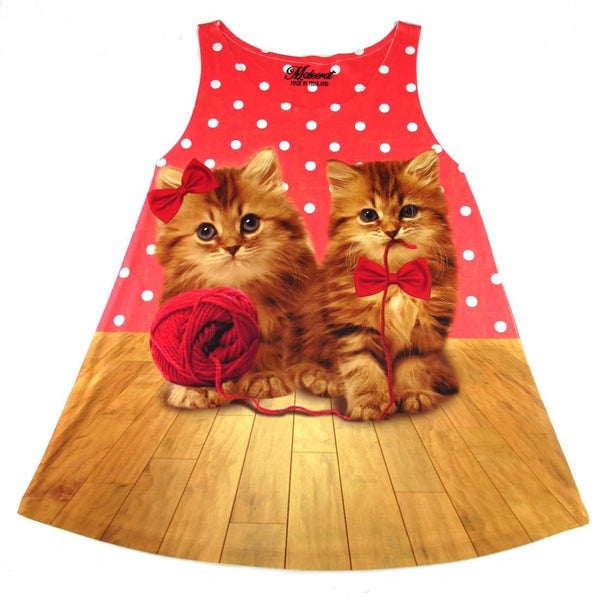 Kitty Cats Playing with a Ball of Yarn All Over Print Polka Dot Top