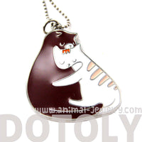 Adorable Kitty Love Cat Shaped Animal Embrace Hug Pendant Necklace