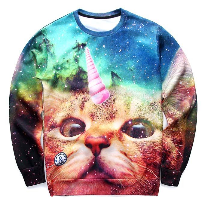 Adorable Kitty Unicorn Cat Space Digital Print Sweater