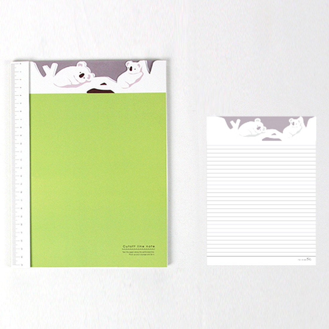 Adorable Koala Bear Patterned Lined Notebook Notepad with Ruler