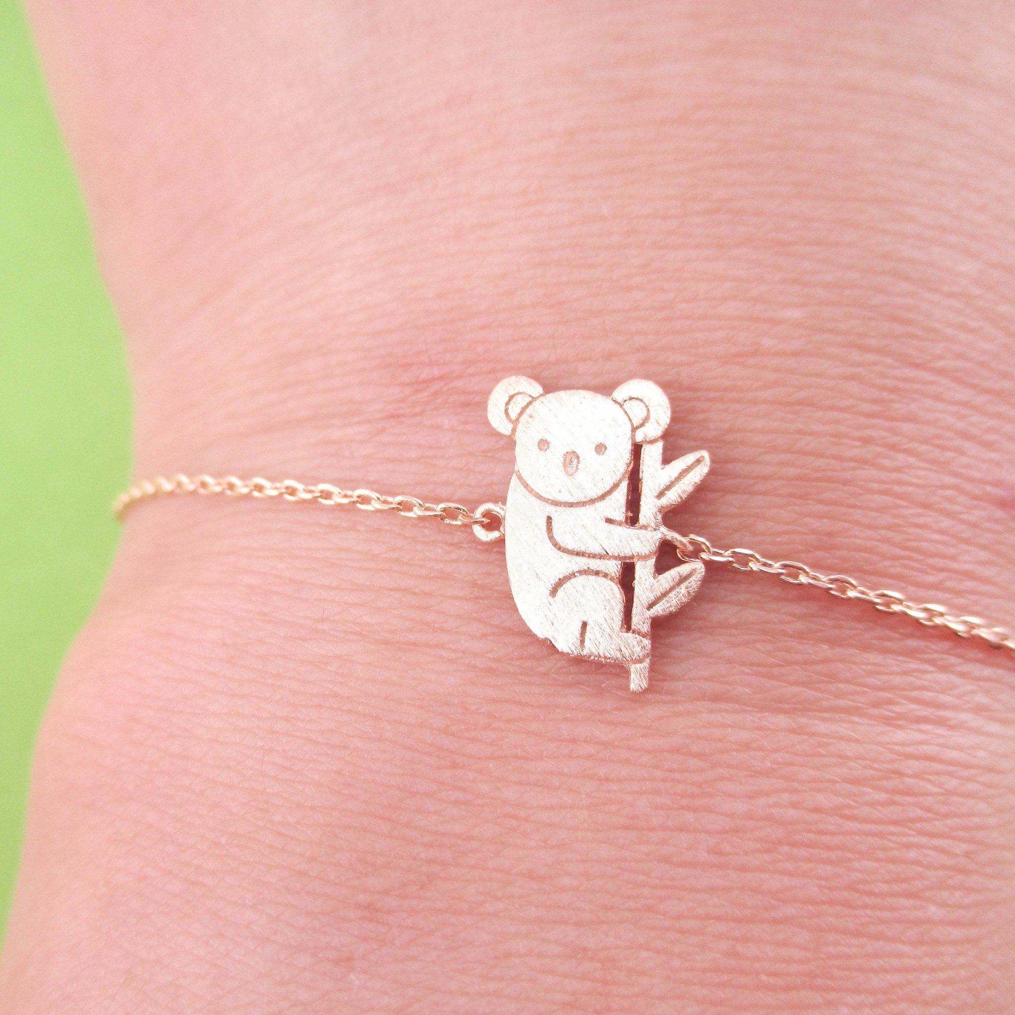 Adorable Koala Bear Shaped Silhouette Charm Bracelet in Rose Gold