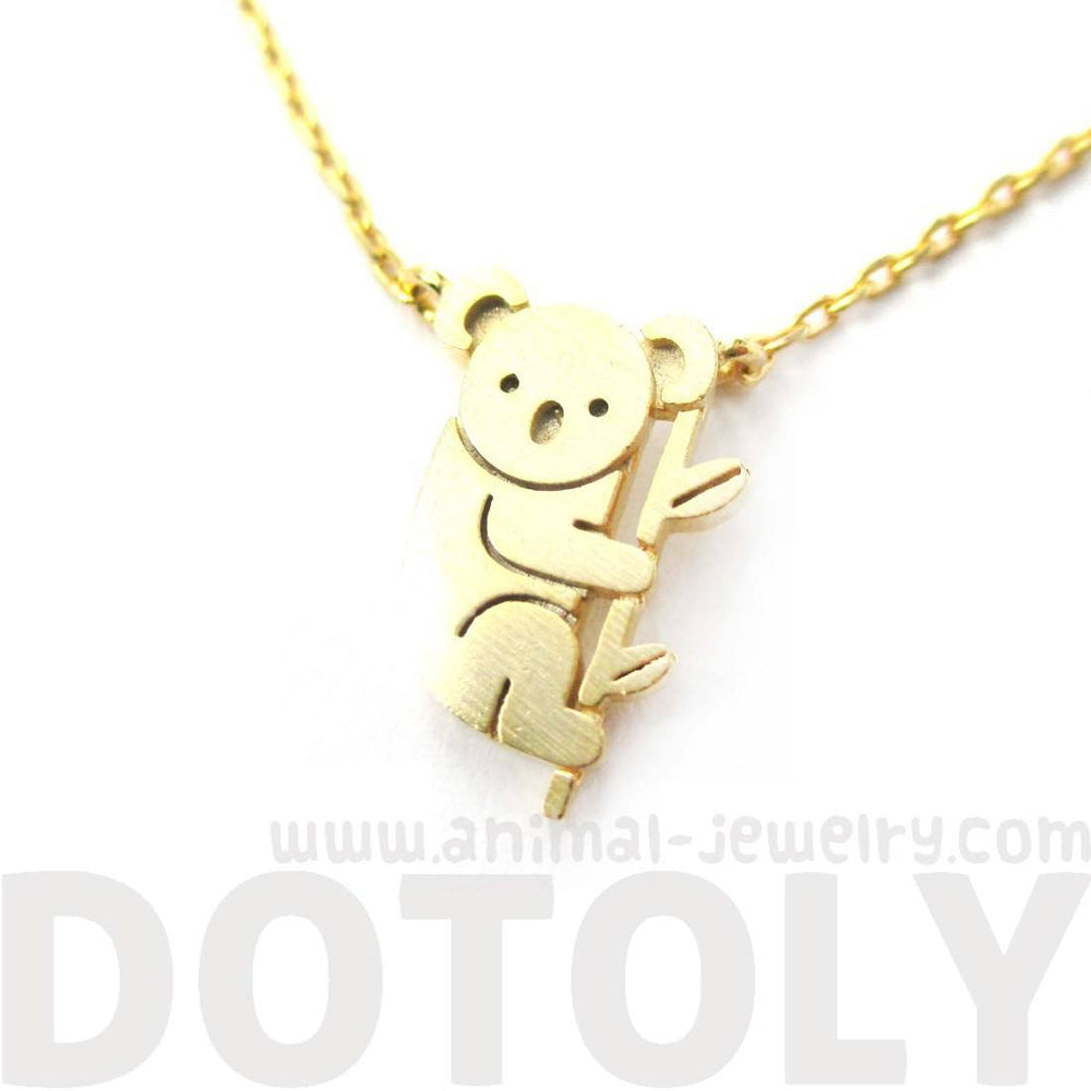 Adorable Koala Bear Shaped Silhouette Charm Necklace in Gold | DOTOLY