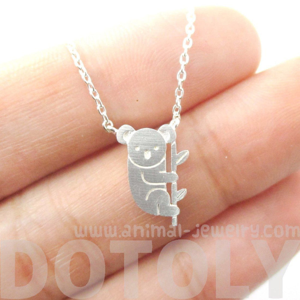 Adorable Koala Bear Shaped Silhouette Charm Necklace in Silver