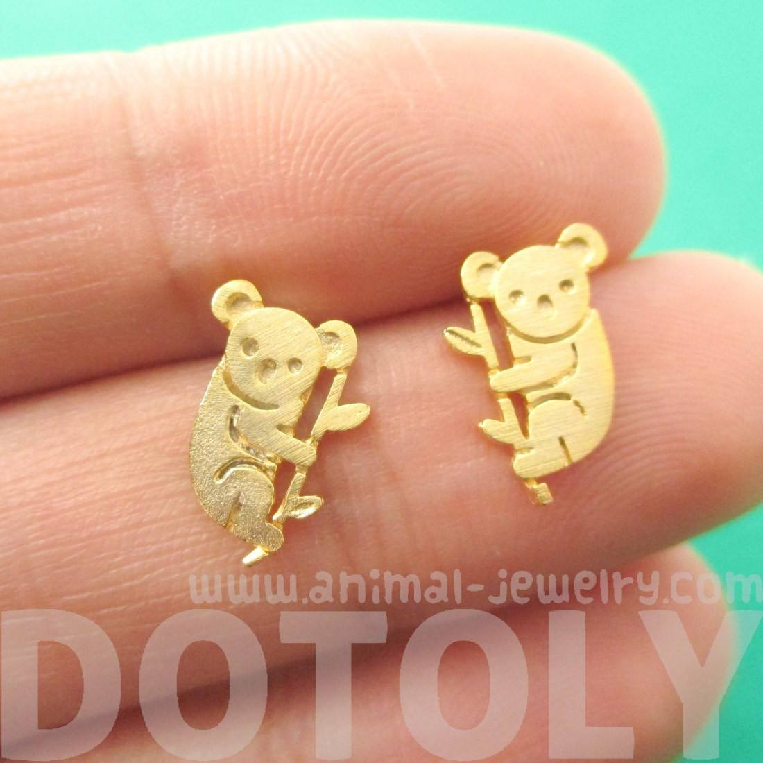 Adorable Koala Bear Silhouette Shaped Stud Earrings in Gold