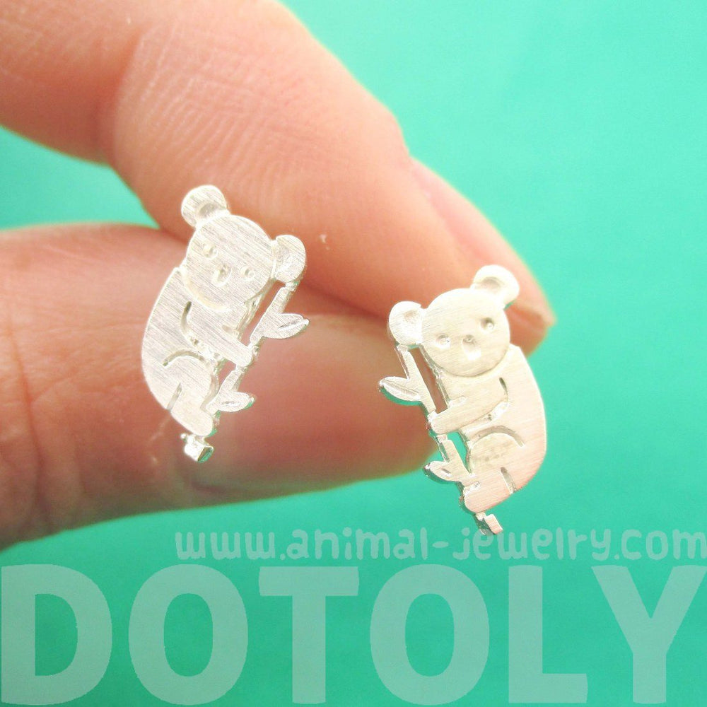 Adorable Koala Bear Silhouette Shaped Stud Earrings in Silver