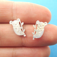 Adorable Koala Bear Silhouette Shaped Stud Earrings in Silver | Animal Jewelry | DOTOLY