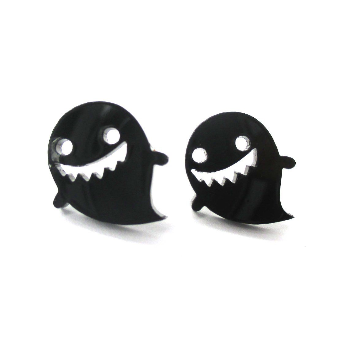 Adorable Laser Cut Black Acrylic Ghost Shaped Statement Stud Earrings