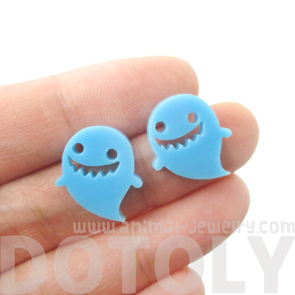 Adorable Laser Cut Blue Acrylic Ghost Shaped Statement Stud Earrings