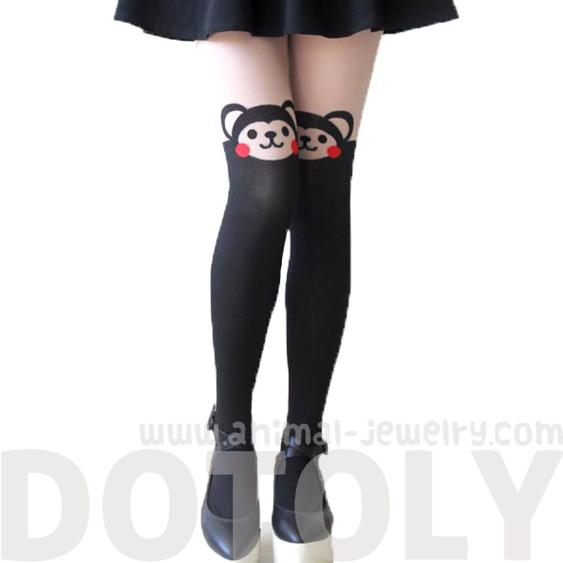 Adorable Monkey Bear Print Mock Thigh High Pantyhose Tights in Black