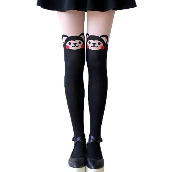 Adorable Monkey Bear Print Mock Thigh High Pantyhose Tights in Black | DOTOLY | DOTOLY