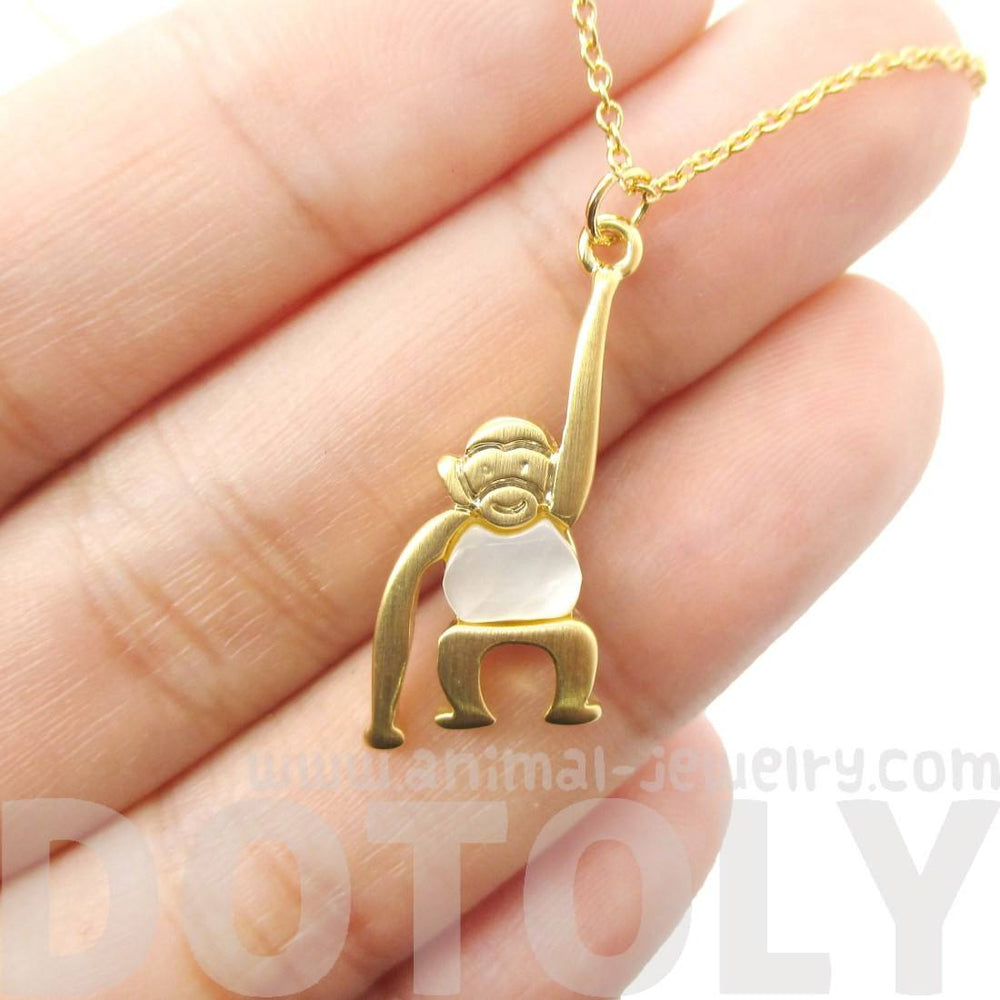 Monkey Chimpanzee Animal Themed Charm Necklace in Gold